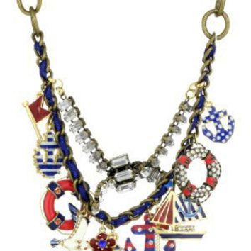 """Betsey Johnson """"Spectator"""" Multi-Anchor Frontal Statement Necklace"""