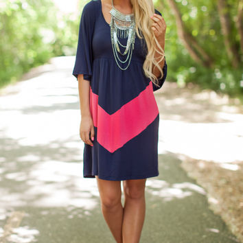 Navy and Coral Chevron Block Dress