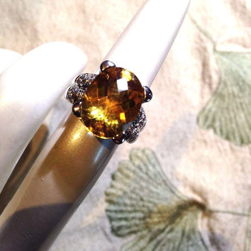 Genuine Citrine Real White Sapphire Vintage 925 Sterling Silver Ring