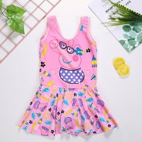 2018 New Children Swimsuit Baby Girl Cartoon Print Swimwear 5-8 Years Old Lovely Girl One Piece Beach Clothing For Kids