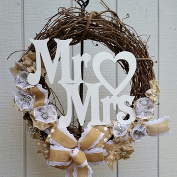 Wedding or anniversary wreath, Mr Mrs