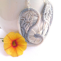 Romanian point lace gray earrings, paisley