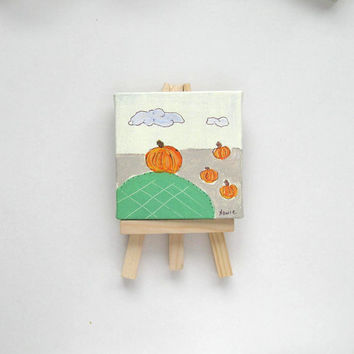 Mini Canvas Pumpkin Painting,  Miniature Painting, original acrylic, easel, home decor, whimsical, Halloween, decoration