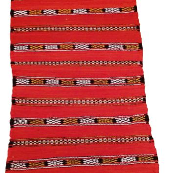 Moroccan Flat Weave Kilim Rug - Hand Woven Zemmour in Red Wool - 33 x 18.5 inches