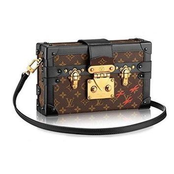 Lv Women Shopping Leather Louis Vuitton Monogram Canvas Petite Malle Leather Strap Handbag Article: M40273 Made In France