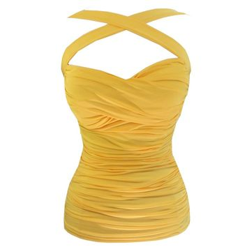 Cool Hot Fashions Criss-Cross Solid Yellow Ruched Halter Top Pinup Retro 50''s Rockabilly