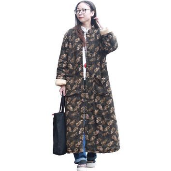 Plus Size Thin Cotton Quilted Trench Coat Leaves Print Vintage Winter Jacket Women Long Coats Maxi Trench Manteau Femme Hiver