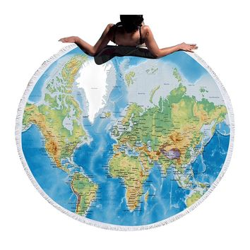 STYLEDOME Large Round Beach Towel Adults Boys With Tassel World Map