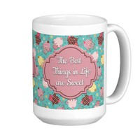 Cute Blue with Pink Yellow Cupcakes Best Things... Classic White Coffee Mug