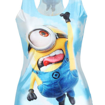 Despicable Me Minions Print Blue Tank Top