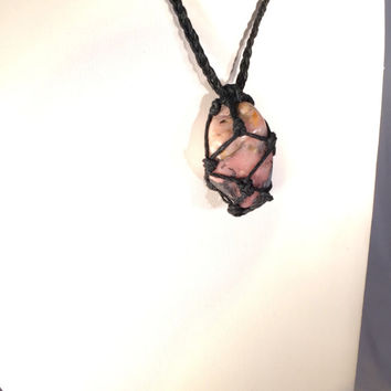 Pink Peruvian Opal Crystal Hemp Necklace, Natural Necklace, Healing Crystals, Stones to Open Chakras, Handmade Necklace