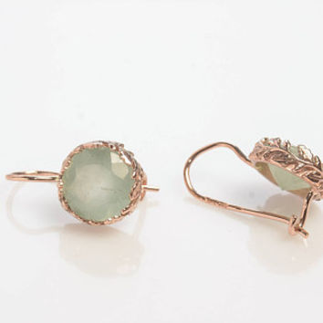 Round Aquamarine Gold Drop Earrings with Laurel decoration in 14K Rose Gold Wire back with hook and lever