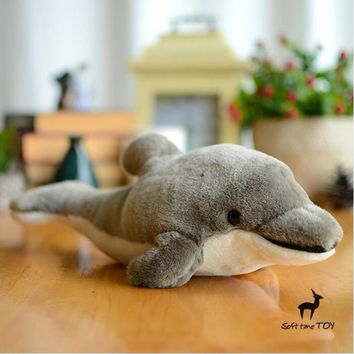 Gray Dolphin Stuffed Animal Plush Toy 13""