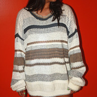 1980s Stripped Beige Oversized Sweater