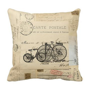 Vintage Bicycles French Postcards Pillow