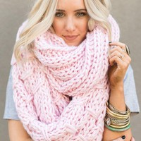 Vintage Cargo Chunky Infinity Knitted Scarf - Pink