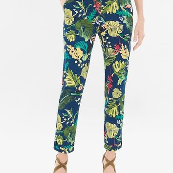 Chico's Comfort Waist Luxe Utility Slim Tropical Ankle Pants
