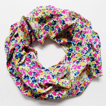 The Kathleen Floral Spring Infinity Scarf Lightweight Flower Scarves for Women Small Print Stretchy Summer Scarf Silky Pastel Gift for Her