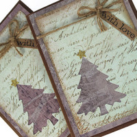 Set of 2 / Christmas Card / With Love Card / Christmas Tree Card / Seasonal Card / Love you Christmas Card / Christmas Card, Rustic Card