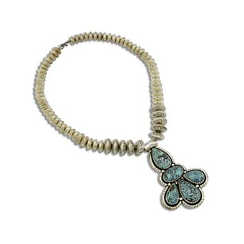 C. 1980s Navajo Fred Guerro Stamped 12mm-18mm Bead Turquoise Silver 925 Necklace