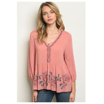 Delicate Embroidered Detail Salmon Boho Top