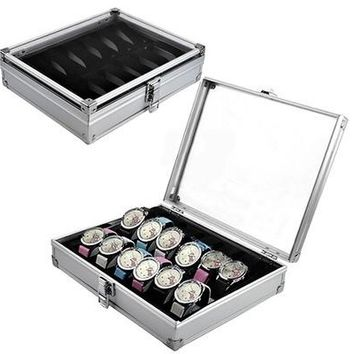 6/12 Grid Slots Jewelry Watches Display Storage Box Case Aluminium Square NEW