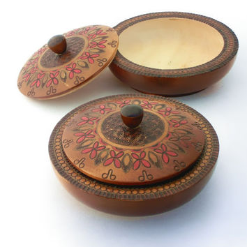 Vintage wooden jewelry boxes in folk style from 70s