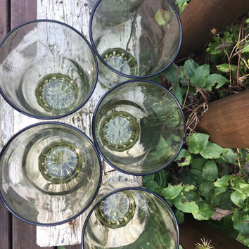 6 vintage olive green tumblers, retro green water glasses, avocado green tall ice tea glasses, retro kitchen glassware, set of green glasses