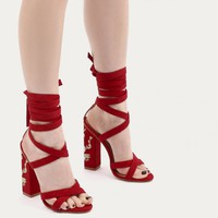 Wilderness Embroidered Lace Up Heels in Red Faux Suede