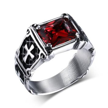 Vintage Mens Rings Stainless Steel Red Large Crystal Dragon Claw Cross Ring Band Gothic Biker Knight Punk Jewelry