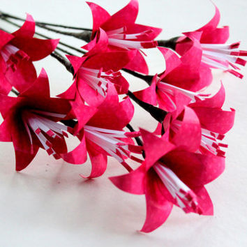 Pink Lily Flowers, Wedding flowers, Lily bouquets, Paper flowers, Wedding paper flowers, flower bouquet, lillies
