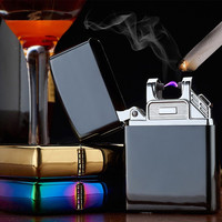 High Tech Lighter Metal USB Rechargeable Flameless Electric Arc Windproof Cig Lighter No Fuel Needed