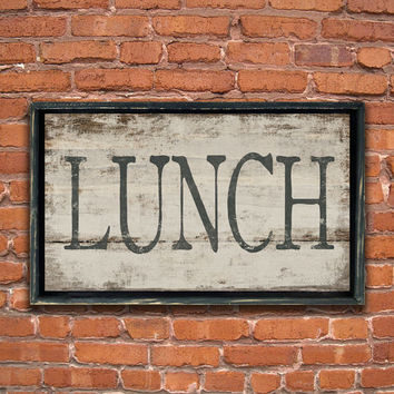 "Handmade Wood lunch sign framed in distressed black frame. Approx. 12""x19"" 2"""