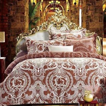 Luxury Style Paisley Printed Luxury 4-Piece Polyester Bedding Sets/Duvet Cover