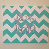 Painted chevron canvas with personalized glitter monogram