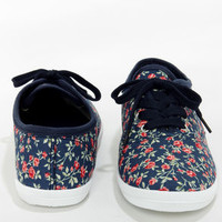 Wild Diva Lounge Marsden 01 Blue Floral Canvas Lace-Up Sneakers