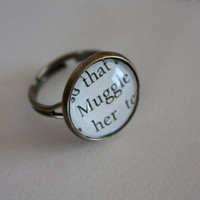 Harry Potter Ring 'Muggle' by PrettyLittleCharmsUK on Etsy
