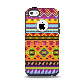 The Vector Gold & Purple Aztec Pattern V32 Apple iPhone 5c Otterbox Commuter Case Skin Set