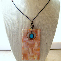 Modern Style Personal Aromatherapy Oil Diffuser Necklace Handmade Clay Pendant Leather Cord with Turquoise Bead Accents