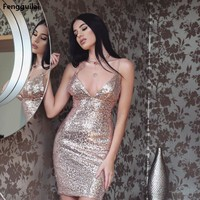 Long Beaded Formal Prom Bridal Party Dresses Wedding Gown gold Short Sleeves V neck Sequins shiny short sexy dress