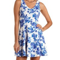 Sleeveless Floral Print Skater Dress - Cobalt Combo