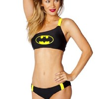 Dc Comics Batgirl One Shoulder Bandeau/panel Low Rise Bikini Set
