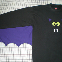 Bat Sweatshirt with batwings and bat applique face Halloween costume Your choice of colors and size GO BATTY