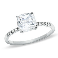 Cushion-Cut White Topaz Ring in 10K White Gold with Diamond Accents - View All Rings - Zales