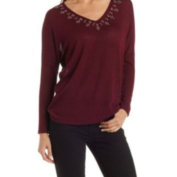 Burgundy Cmb Grommet V-Neck Tunic Top by Charlotte Russe