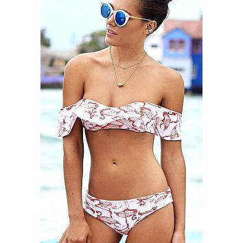 White Flamingo Ruffle Off Shoulder Bikini Swimsuit - Two Piece Set