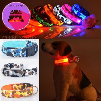100pcs Camouflage LED Nylon Pet Dog Collar Night Safety LED Light-up Flashing Glow In The Dark Electric LED Pets Cat