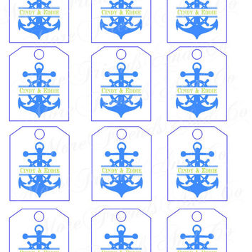 Wedding Anchor Split with Names DIY Tags Digital Download