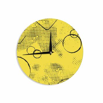 """Bruce Stanfield """"Traces Texture In Yellow"""" Black Yellow Painting Wall Clock"""
