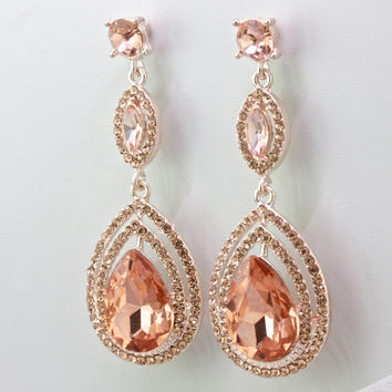Bridal Blush Earrings,Rosegold Chandelier Tear Drop Earrings,Crystal Teardrop Earrings,Bridesmaid Wedding Gift Jewelry,Rose Gold Earrings